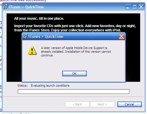 Failed iTunes Update
